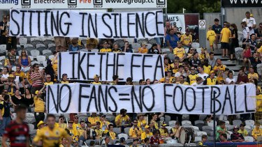 Standing up: Central Coast Mariners fans protested with a silent offering in the game against Western Sydney.