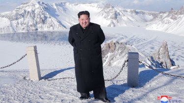 Kim Jong-un was said to have climbed Mount Paektu on Saturday in dress shoes given the rare weather-friendly conditions.