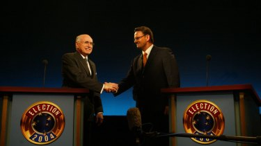 John Howard and Mark Latham at the 2004 election debate.