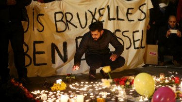 Solidarity at the Place de la Bourse following the attacks in Brussels.