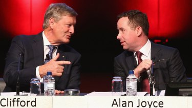 Leigh Clifford and Alan Joyce at the annual meeting where shareholders were asked to approve a $505 million capital return.