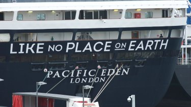 """""""Like no place on earth"""": the Pacific Eden docked at Sydney's White Bay on Monday morning."""