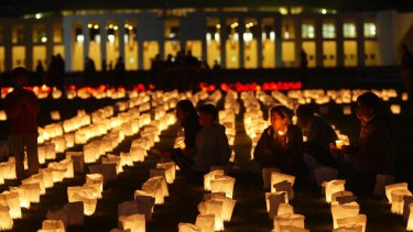 The candlelight vigil for Van Nguyen at Parliament House in November 2005.