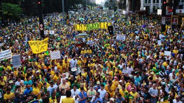 Anti-government protesters in Sao Paulo on Sunday, joined demonstrators in 205 Brazilian cities.