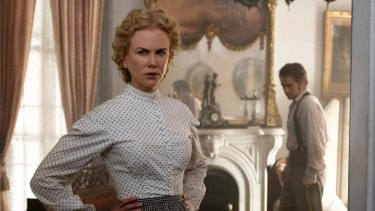 As headmistress Miss Martha (with Colin Farrell as an injured soldier) in The Beguiled, set during the American Civil War.