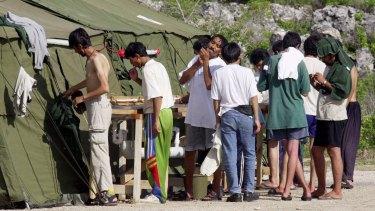 Refugees living in camps on Nauru.