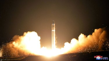 North Korea tests its Hwasong-15, a missile that could reach most corners of the world, on November 29.