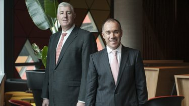 Former NAB CEO Cameron Clyne and successor Andrew Thorburn.