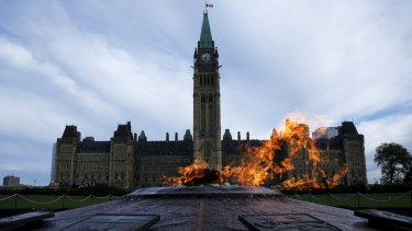 Parliament Hill in Ottawa on Sunday when Canadian Prime Minister Stephen Harper called elections for October 19.