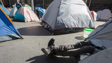 The homeless encampment in front of the Reserve Bank HQ in Martin Place.