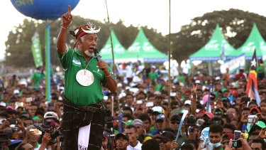 Former East Timorese president Xanana Gusmao speaks to supporters during a campaign rally in Dili on Tuesday.