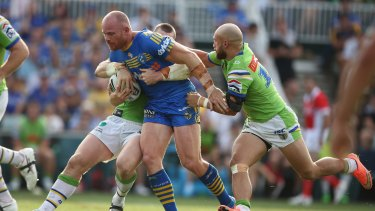 Tough attitude: Parramatta back-rower Beau Scott only knows one way to play.