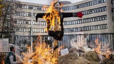 An effigy of Ecology Minister Segolene Royal burns in Dijon.