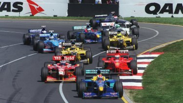 Action from the 1998 Australian Grand Prix, Melbourne.