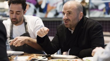 George Calombaris with MasterChef 2012 winner Andy Allen, who joined the lunch in Rosebery.