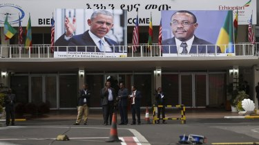 Portraits of US President Barack Obama and Ethiopian Prime Minister Hailemariam Desalegn decorate the airport terminal  in Addis Ababa.