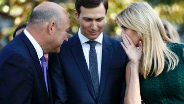 White House chief economic adviser Gary Cohn, left, White House senior adviser Jared Kushner, centre, and Ivanka Trump.