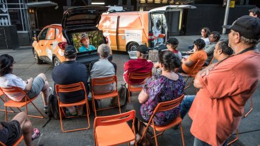 Mobile laundry founders, Nicholas Marchesi and Lucas Patchett's latest initiative is a vehicle filled with folding chairs and a large screen equipped with mobile and internet technology.