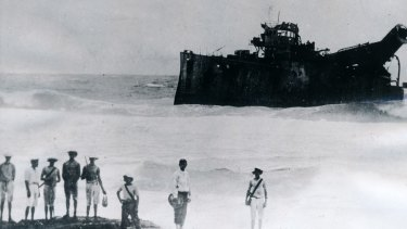 "VICTORY AT SEA: The German raider Emden ""beached and done for"" following her defeat at the Cocos Islands by HMAS Sydney on November 9,1914."