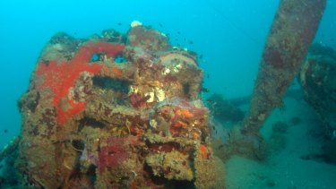 An engine mount from Catalina 24-25. The aircraft was discovered in waters off Cairns in far North Queensland.