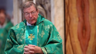 Cardinal George Pell at a mass held by Pope Francis at St Peter's Basilica in 2015.