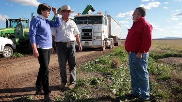 Andrew Pursehouse, a vocal opponent of the planned coal mine, with his relatives on the Liverpool Plains.