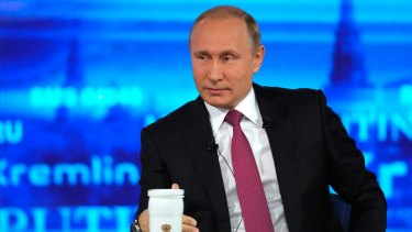 Russian President Vladimir Putin during his annual televised call-in show in Moscow on Thursday.