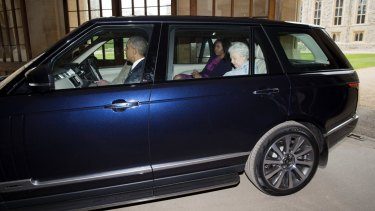 Prince Philip drove the Obamas and the queen to Windsor Castle for lunch after greeting them at their helicopter.