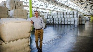 Australian Wool Network NSW manager Mark Hedley in the Australian Wool Handlers warehouse in Goulburn.