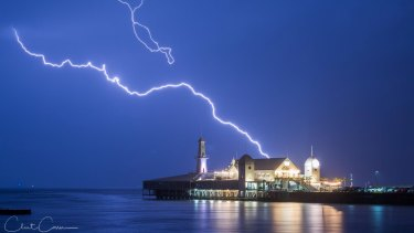 Lightning over Cunningham Pier on Geelong Waterfront on April 24.