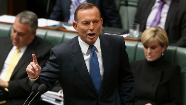 Prime Minister Tony Abbott during Question Time at Parliament House in Canberra.
