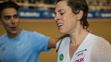 Bridie O'Donnell after setting a new mark for the UCI Hour Record with a distance of 46.882km.
