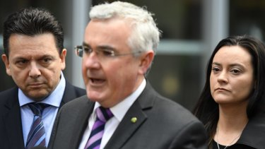 Andrew Wilkie MP, with Senator Nick Xenophon, and former pokie machine victim, Shonica Guy launch PokieLeaks in Sydney CBD.