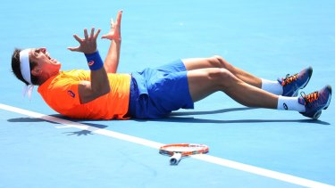 Breakthrough: Marinko Matosevic of Australia celebrates winning his first ever match at the Australian Open.