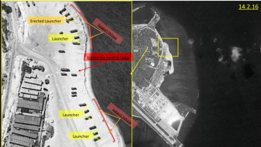 This image with notations provided by ImageSat International N.V., in February shows satellite images of Woody Island. A US official confirmed that China has placed a surface-to-air missile system on the island.