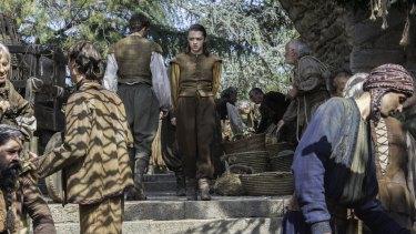 Arya strolling Braavos' ultimately menacing streets