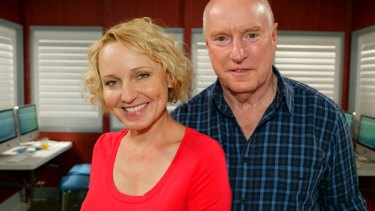 Joy Smithers as Bridget and Ray Meagher as Alf Stewart in the TV series <i>Home And Away</i>.