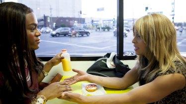 Kitana Kiki Rodriguez and Mya Taylor in <em>Tangerine</em>.