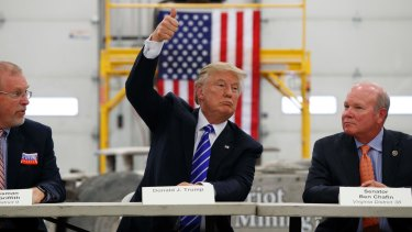 Donald Trump speaks during a coal mining roundtable in Virginia.