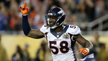 Front and centre: You can watch Von Miller and the Super Bowl champion Broncos on 7mate on Friday morning in the season opener.