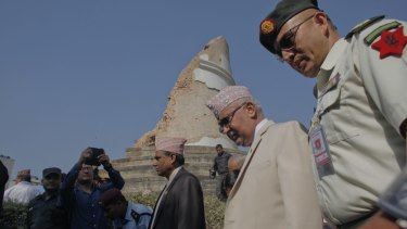 Nepal's Prime Minister Khadga Prasad Oli after laying a wreath at the ruins of the Dharahara tower in the heart of Kathmandu.