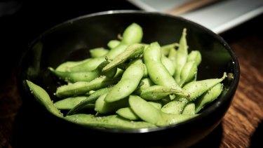 Edamame - soy beans with nori salt - at Sake.