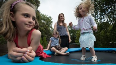 Carla Pincombe, 35, with her three children Aurora, Saskia and Reverie.