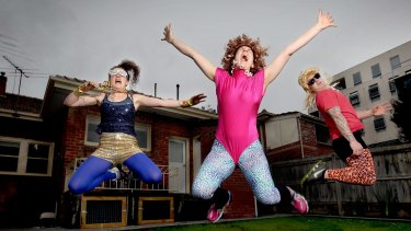 Bringing out the kid in you. (L-R) Leana Rose, Dara Simkin and Kane White get into some 80s dancing, just one of the workshops being offered at a   summer Camp for adults in Victoria.