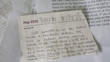 A handwritten note given to Bruce Whalley from one of his passengers.
