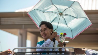 Aung San Suu Kyi visits Rakhine state, home to Rohingya, in October last year.