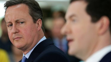 Prime Minister David Cameron and Chancellor of the Exchequer George Osborne campaigning to avoid Brexit.