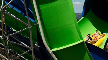 The free fall section of the slide generates the highest speed on the ride, and produces a moment of weightlessness.
