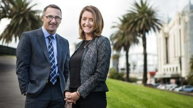 Greens leader Richard Di Natale and Melbourne Ports candidate Steph Hodgins-May.