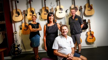 Maton Guitars owners Neville and Linda Kitchen (front) with their daughter Chantal de Fraga and son-in-law David Steedman at Maton's Box Hill Factory.